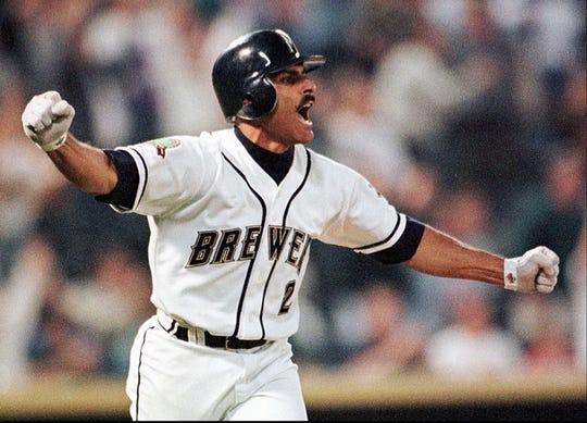 Milwaukee Brewers' Jose Valentin reacts after hitting a game-winning two-run single in the ninth inning Tuesday, May 26, 1998, against the Pittsburgh Pirates in Milwaukee.