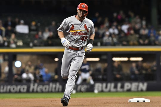 Cardinals first baseman  Paul Goldschmidt rounds the bases after hitting a home run in the first inning.