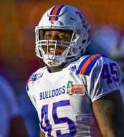 Dec 22, 2018; Honolulu, HI, USA;    Louisiana Tech Bulldogs defensive end Jaylon Ferguson (45) prior to the start of the SoFi Hawaii Bowl between the Louisiana Tech Bulldogs and the Hawaii Warriors played at Aloha Stadium. Mandatory Credit: Steven Erler-USA TODAY Sports