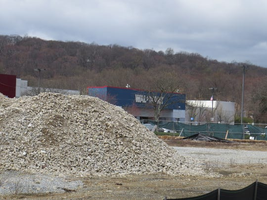 Piles of fill sit on the site of the demolished former Macy's at the Ledgewood Mall in Roxbury April 16, 2019. Walmart announced it will demolish its store there in June and replace it with a larger supercenter, slated to open in 2020.