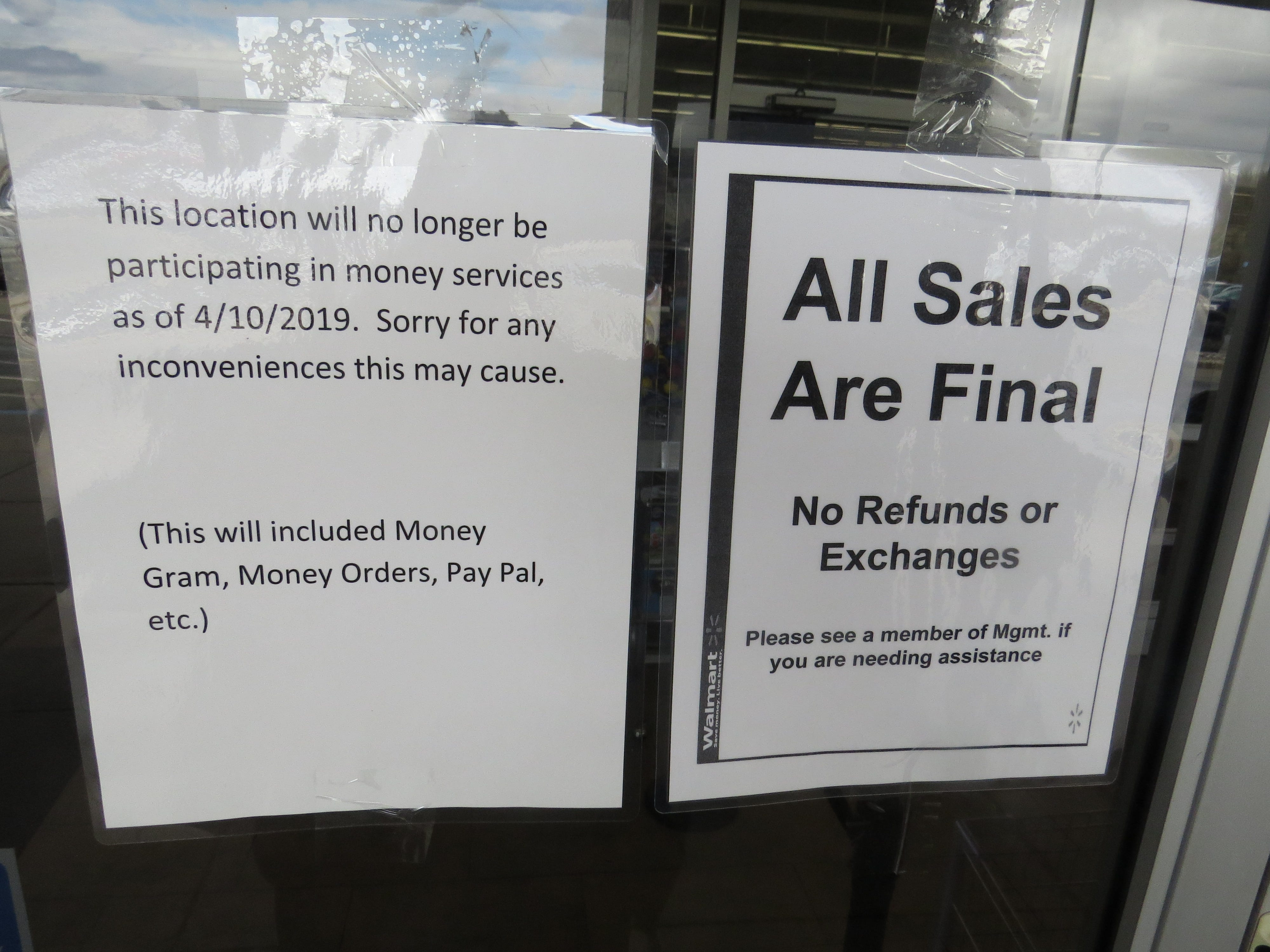 Signs announce the closure of Walmart Piles at the Ledgewood Mall in Roxbury April 16, 2019. Walmart announced it will demolish the store in June and replace it with a larger supercenter, slated to open in 2020.