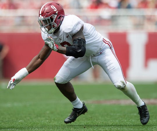 Alabama linebacker Eyabi Anoma (9) during second half action in the Alabama A-Day spring football scrimmage game at Bryant Denny Stadium in Tuscaloosa, Ala., on Saturday April 13, 2019.