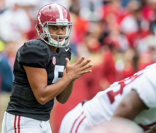 Alabama quarterback Taulia Tagovailoa (5) during first half action in the Alabama A-Day spring football scrimmage game at Bryant Denny Stadium in Tuscaloosa, Ala., on Saturday April 13, 2019.