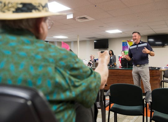 Golfer Jason Bohn talks with fellow heart attack survivors at the Normandie Medical Building in Montgomery, Ala., on Tuesday, April 16, 2019. Bohn suffered a heart attack at a golf tournament in 2016.