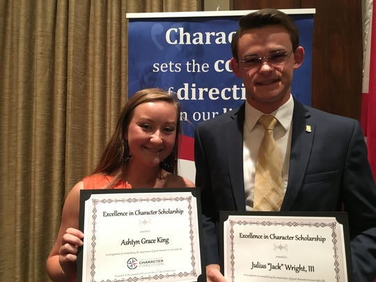 "Ashtyn Grace King. left, and Julius ""Jack"" Wright III received scholarships from the Prattville-Autauga Character Coalition."