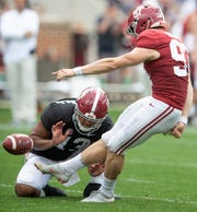 Alabama place kicker Joseph Bulovas (97) during first half action in the Alabama A-Day spring football scrimmage game at Bryant Denny Stadium in Tuscaloosa, Ala., on Saturday April 13, 2019.
