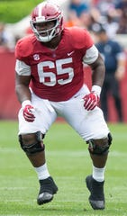 Alabama offensive lineman Deonte Brown (65) during first half action in the Alabama A-Day spring football scrimmage game at Bryant Denny Stadium in Tuscaloosa, Ala., on Saturday April 13, 2019.