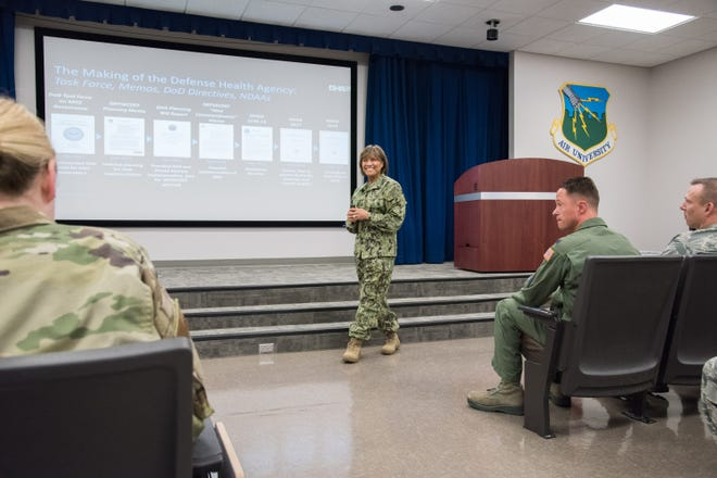 U.S. Navy Vice Admiral Raquel C. Bono Director, Defense Health Agency (DHA) visits Medical Group and speaks at a Town Hall on April 11, 2019.