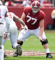 Alabama offensive lineman Matt Womack (77) during first half action in the Alabama A-Day spring football scrimmage game at Bryant Denny Stadium in Tuscaloosa, Ala., on Saturday April 13, 2019.
