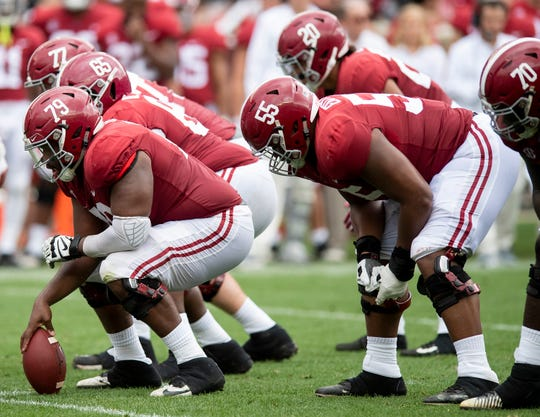Alabama offensive lineman Chris Owens (79) during first half action in the Alabama A-Day spring football scrimmage game at Bryant Denny Stadium in Tuscaloosa, Ala., on Saturday April 13, 2019.
