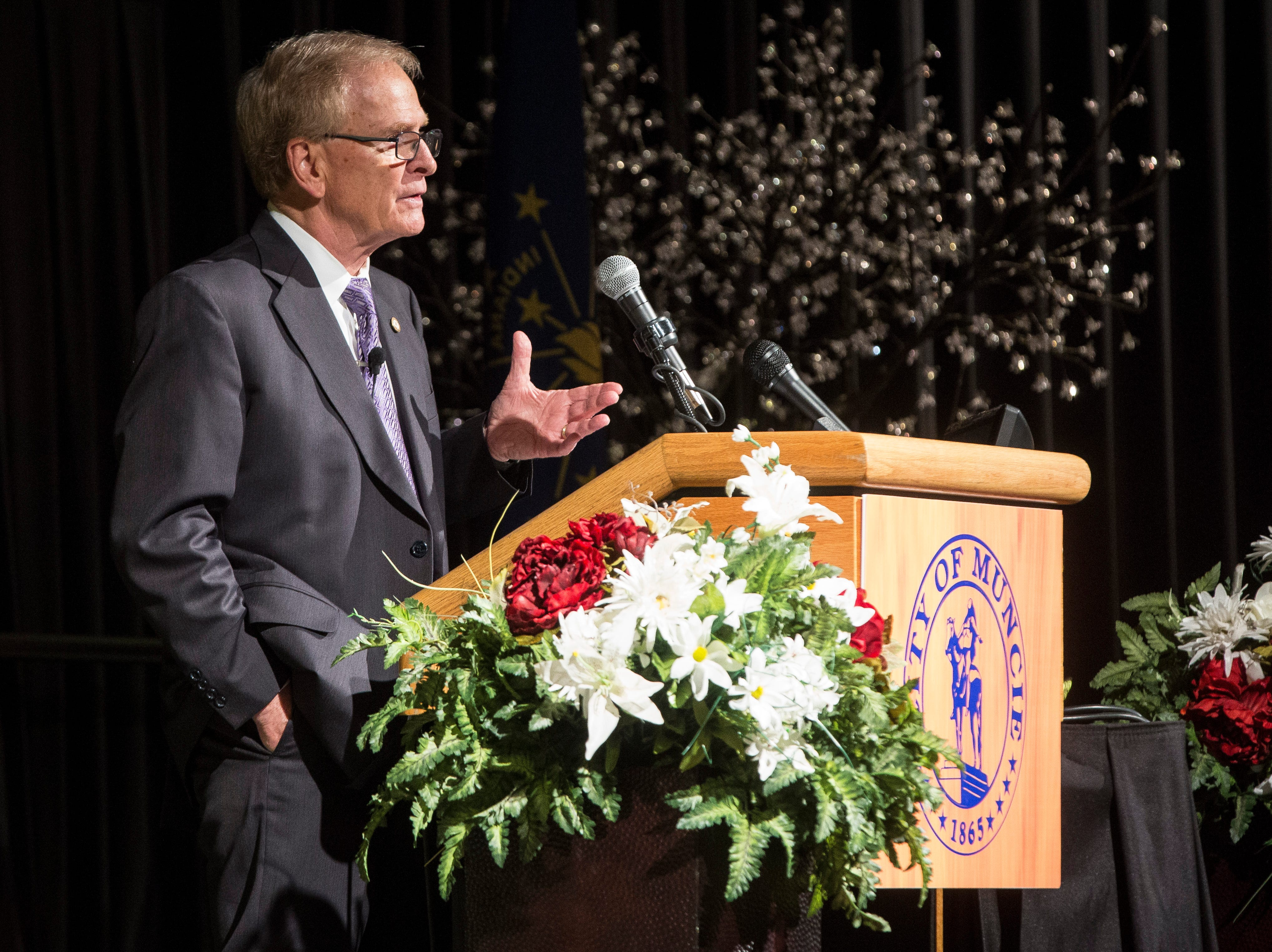 Muncie Mayor Dennis Tyler speaks to members of the community and other officials during his State of the City Address on April 16, 2019 at the Horizon Convention Center. This was Tyler's last annual address as his term as mayor ends at the end of the year.