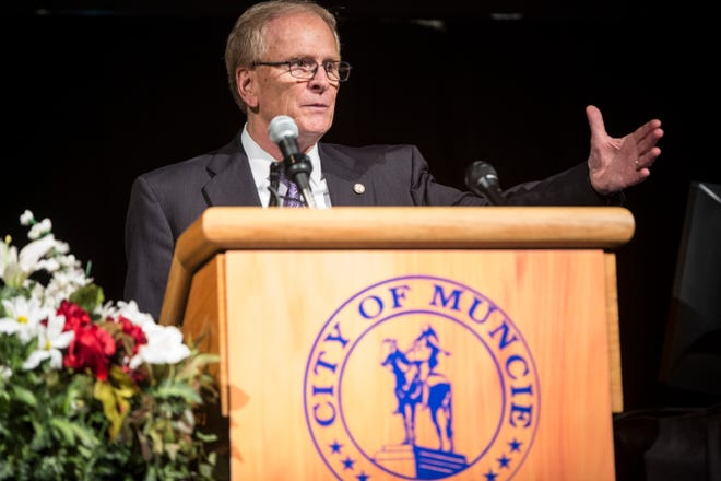 Muncie Mayor Dennis Tyler speaks to members of the community and other officials during his State of the City Address on April 16, 2019 at the Horizon Convention Center.