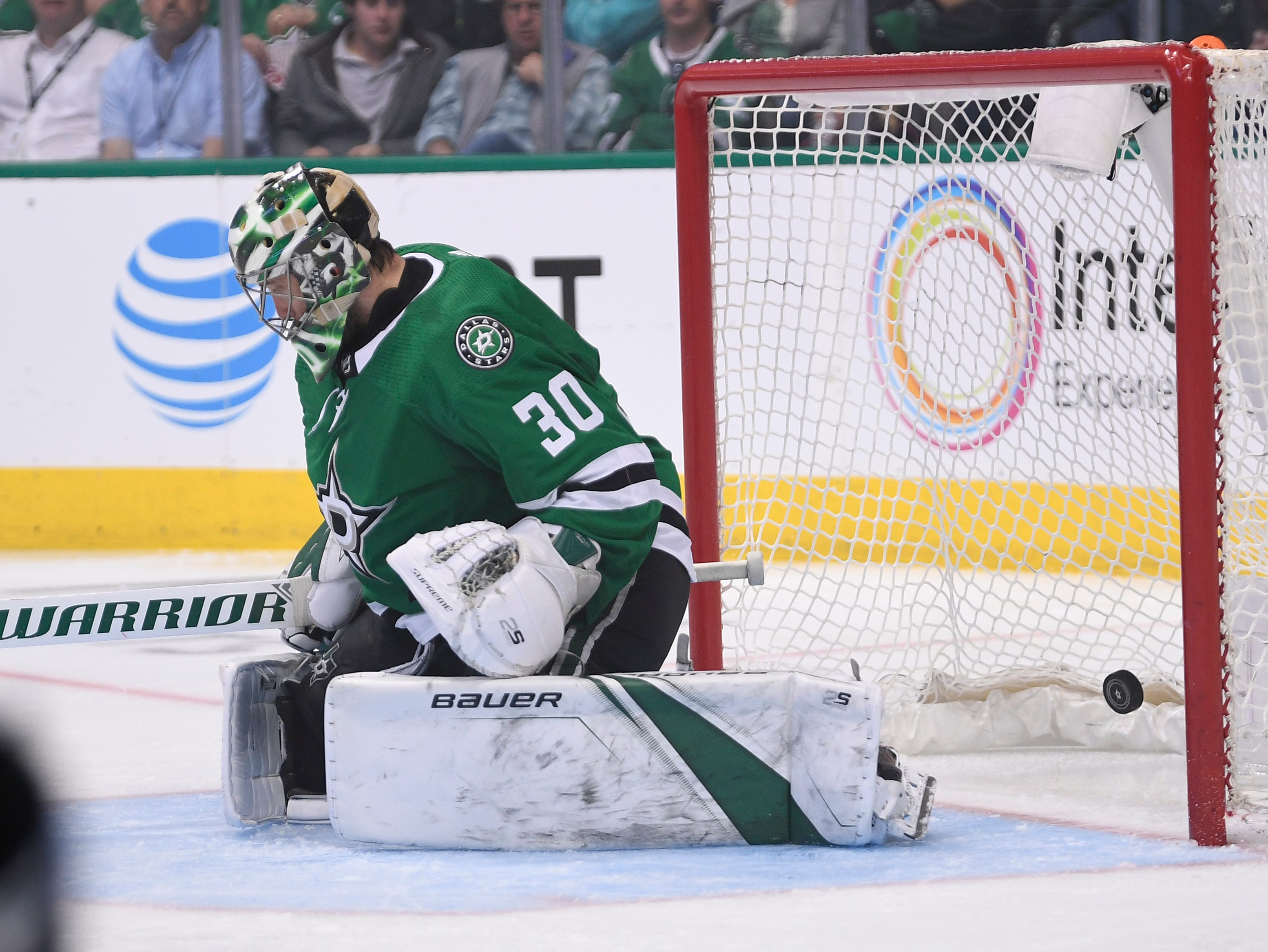 The goal by Nashville Predators center Rocco Grimaldi (23) gets by Dallas Stars goaltender Ben Bishop (30) during the second period of the divisional semifinal game at the American Airlines Center in Dallas, Texas., Monday, April 15, 2019.