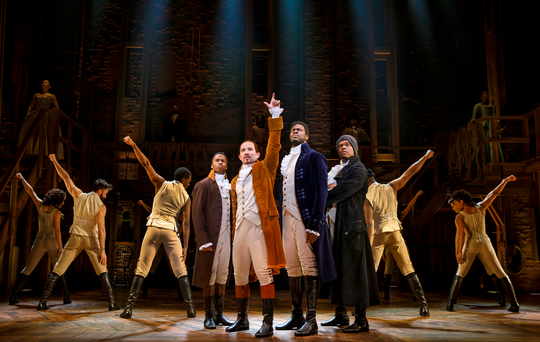 "Elijah Malcomb, Joseph Morales, Kyle Scatliffe, Fergie L. Philippe and the company of the ""Hamilton"" National Tour."