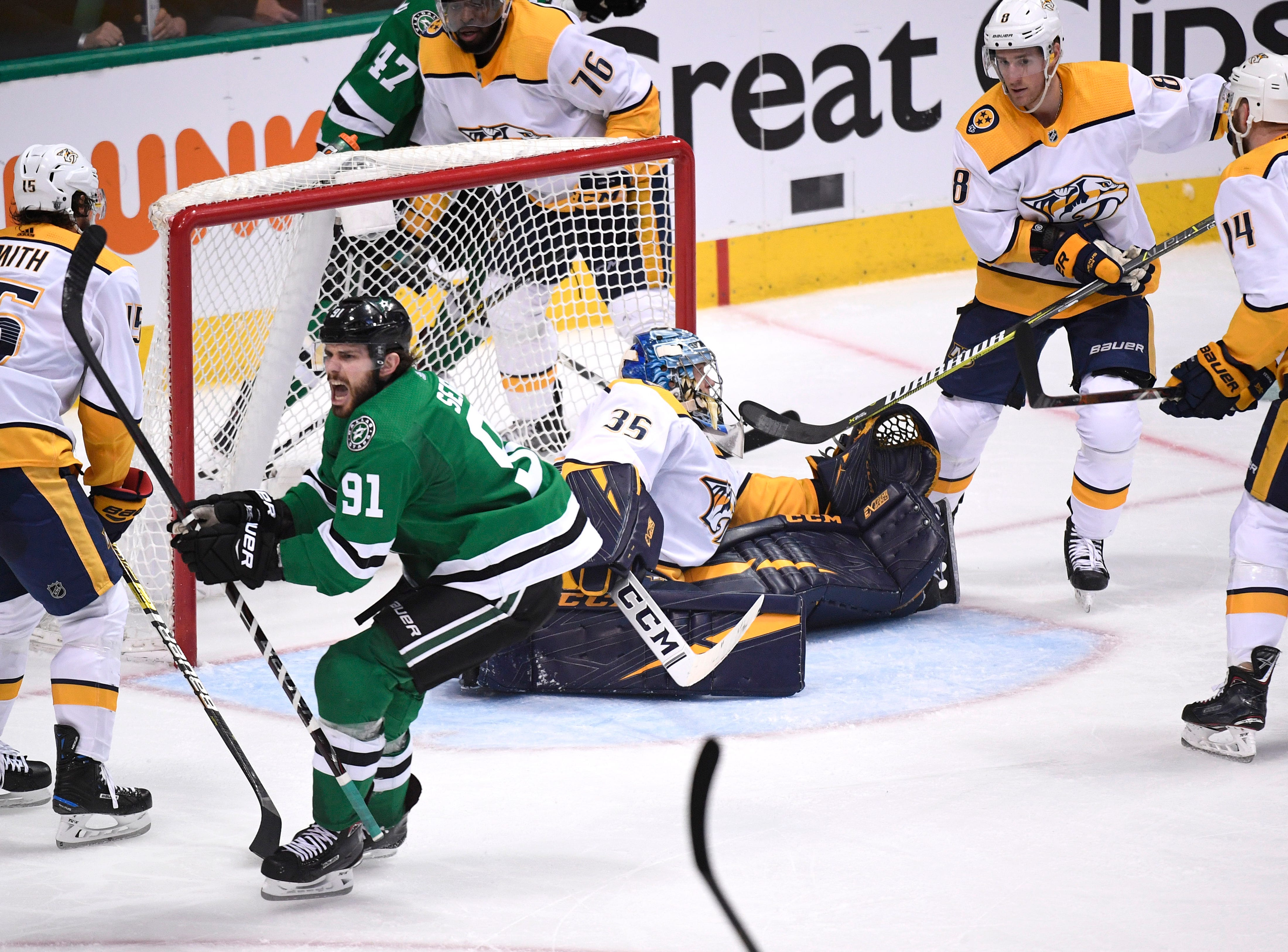 Dallas Stars center Tyler Seguin (91) celebrates his goal during the third period of the divisional semifinal game at the American Airlines Center in Dallas, Texas., Monday, April 15, 2019.