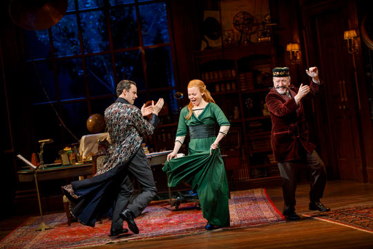 "Harry Hadden-Paton, Lauren Ambrose, and Allan Corduner in Lincoln Center Theater's ""My Fair Lady."""