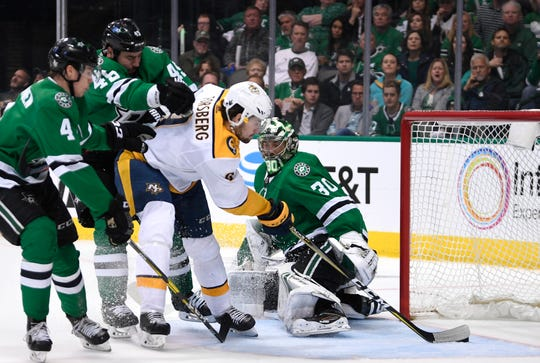 Nashville Predators left wing Filip Forsberg (9) scores the team's second goal during the second period of the divisional semifinal game at the American Airlines Center in Dallas, Texas., Monday, April 15, 2019.