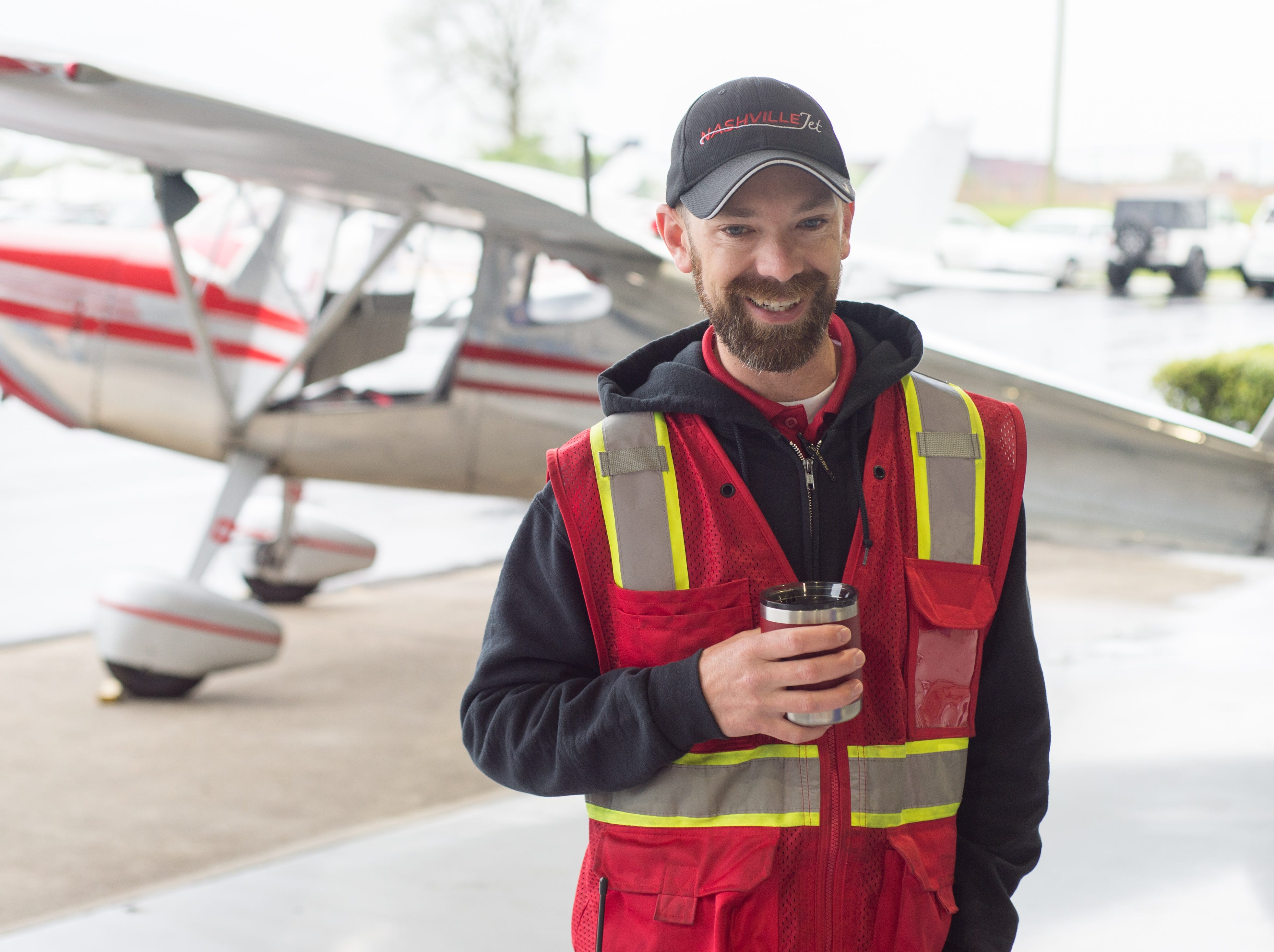 General Manager at Nashville Jet Jeff Dunham chats during a Fly-In Breakfast at the Sumner County Regional Airport in Gallatin on Saturday, April 13.