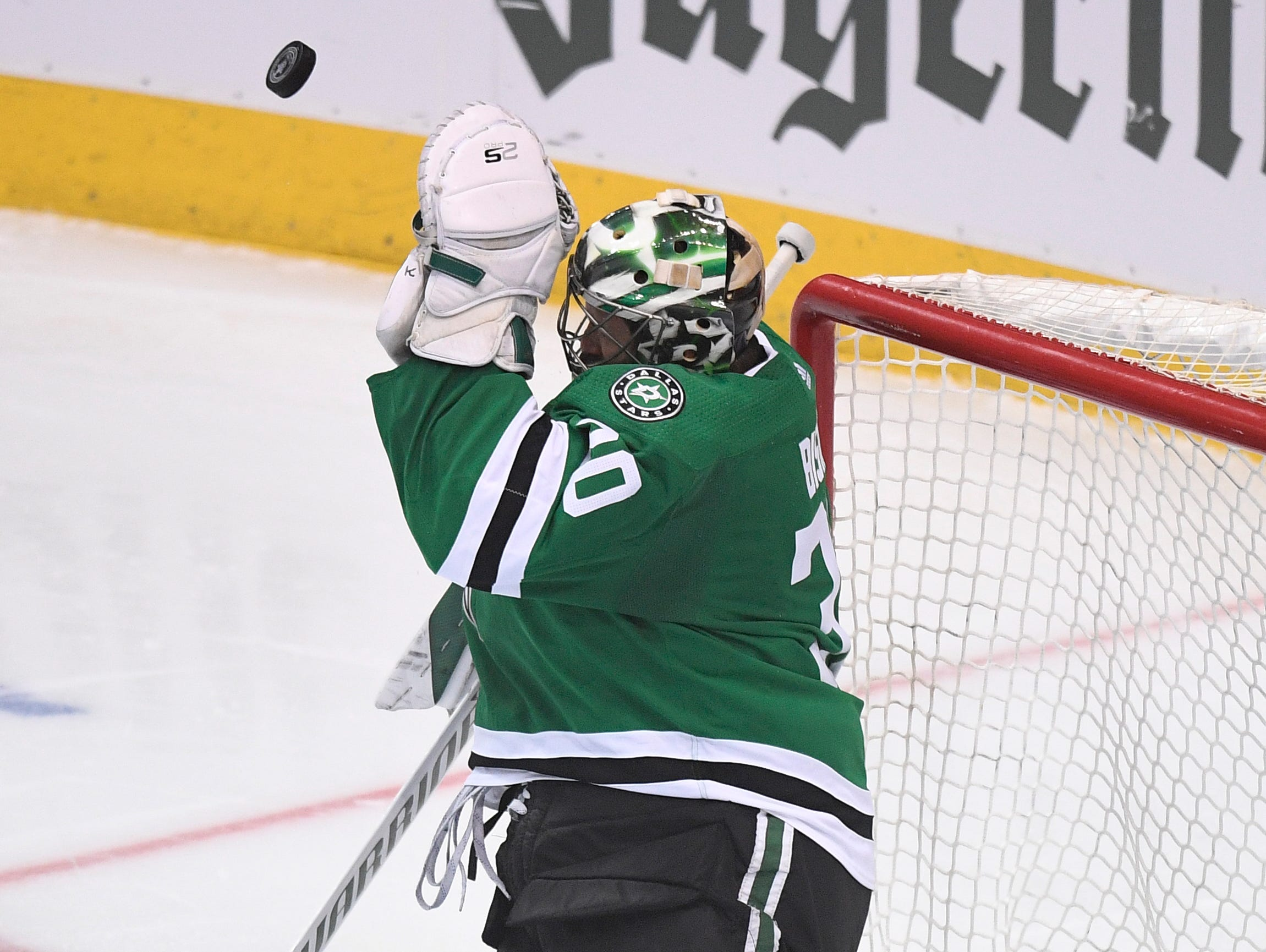 Dallas Stars goaltender Ben Bishop (30) stops a Predators shot during the third period of the divisional semifinal game at the American Airlines Center in Dallas, Texas., Monday, April 15, 2019.