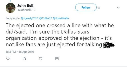 A screengrab of a Twitter account after a Dallas Stars fan was ejected in Game 3 of the NHL Playoffs