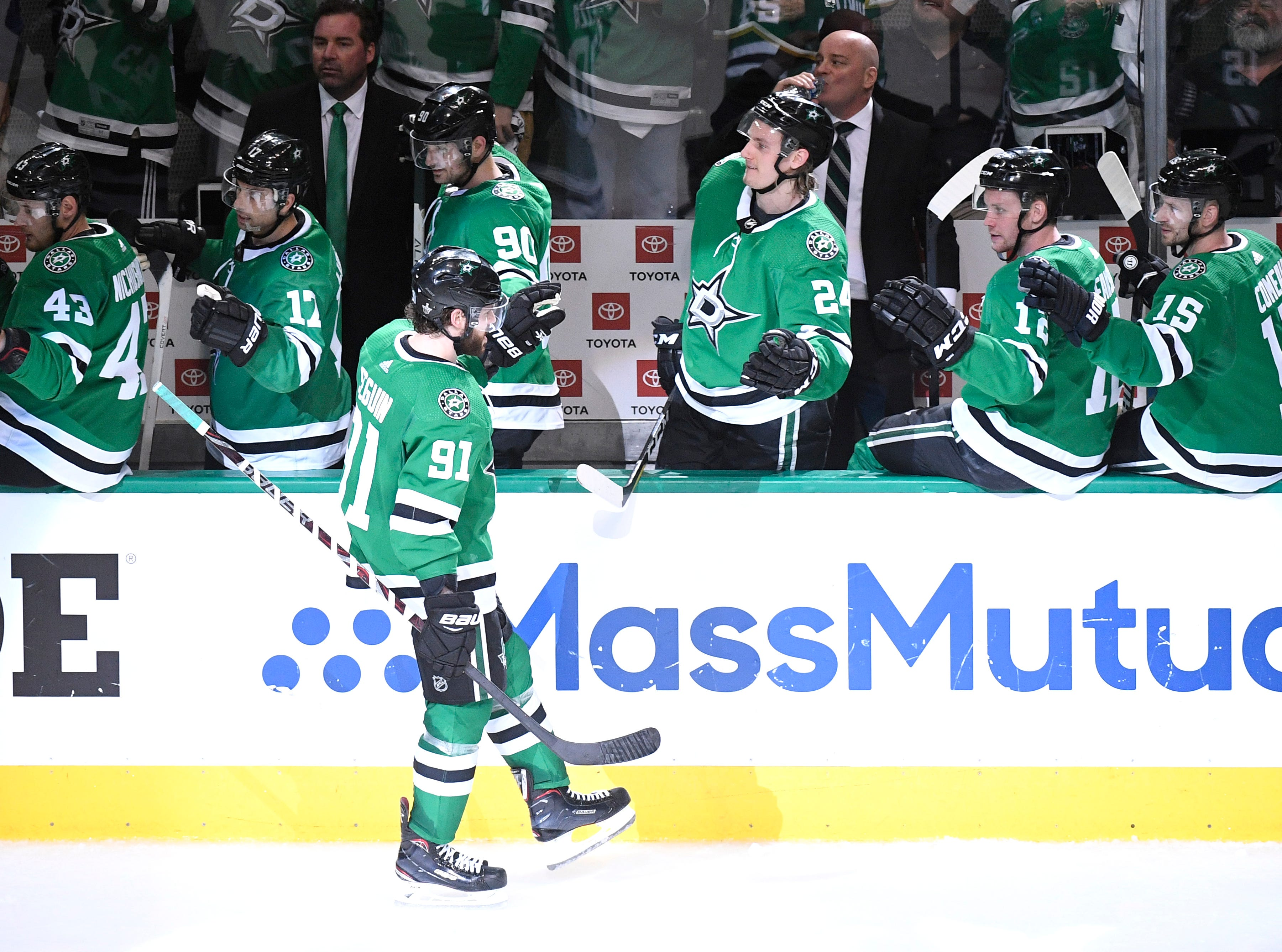 Dallas Stars center Tyler Seguin (91) celebrates his goal during the third period of the divisional semifinal game against the Nashville Predators at the American Airlines Center in Dallas, Texas., Monday, April 15, 2019.