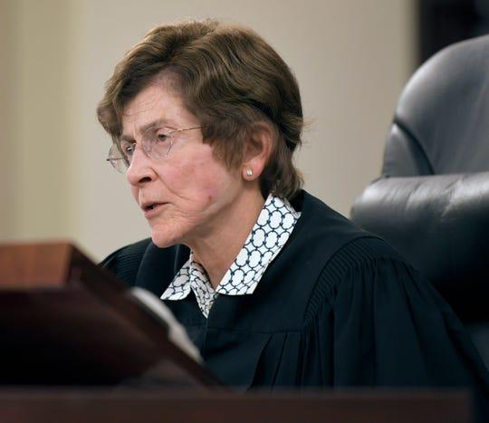 Judge Cheryl Blackburn speaks during a hearing regarding Emanuel Samson in her courtroom on Tuesday, April 16, 2019.