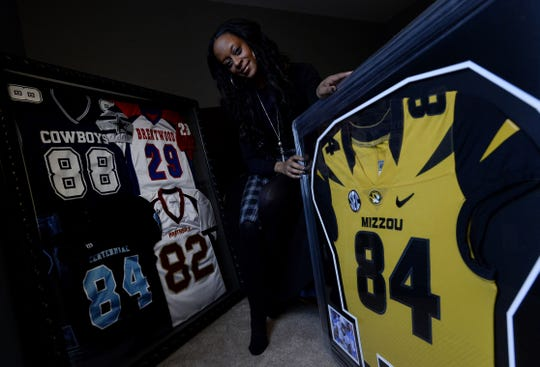 Shannon Simmons, mother of NFL draft prospect Emanuel Hall, in her son's room on Wednesday, Feb. 20, 2019, in Franklin, Tenn. Hall and his family faced hardship this year when his dad passed away during his senior season while he played football at the University of Missouri.