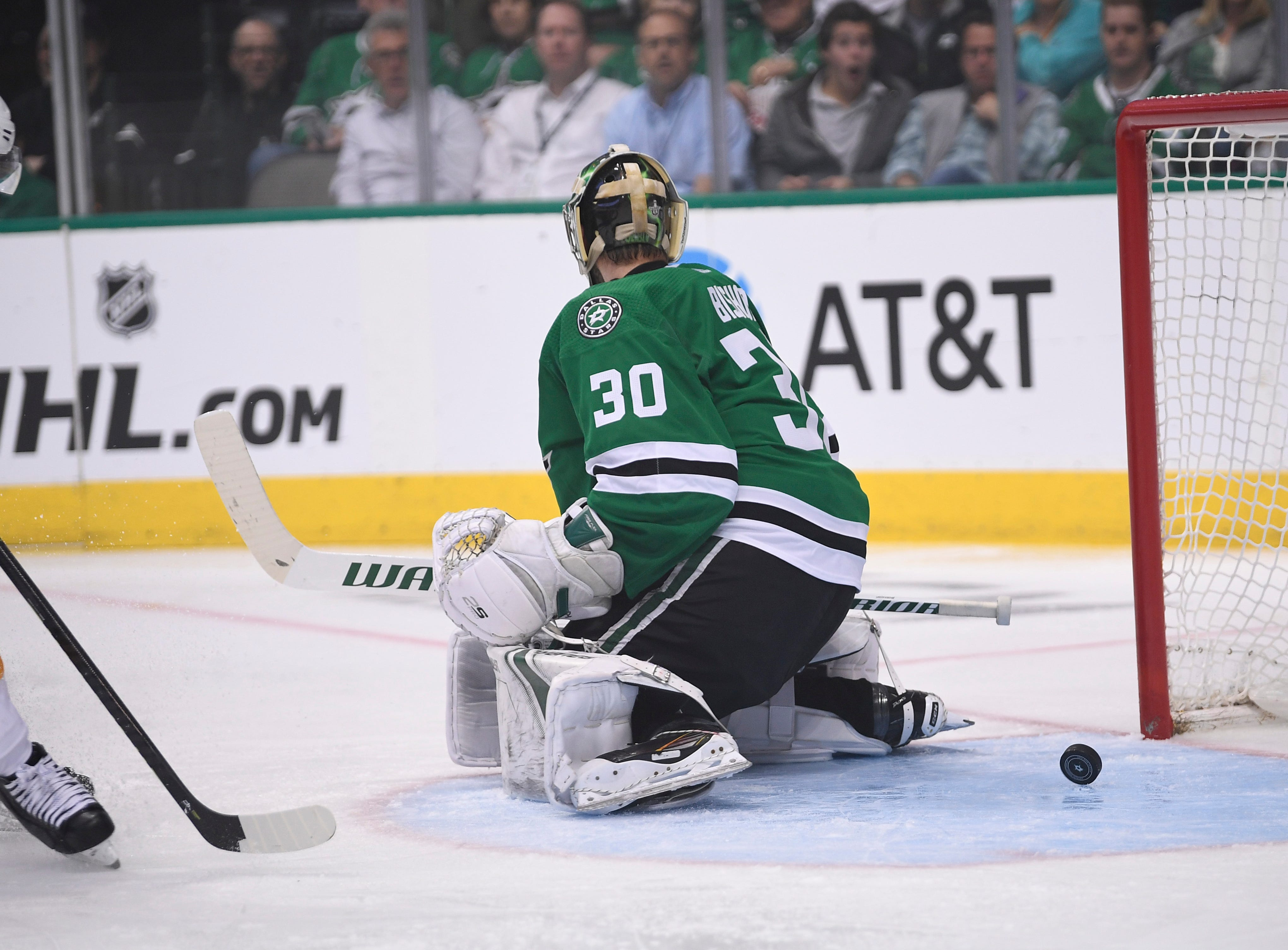 A shot from Nashville Predators center Rocco Grimaldi gets by Dallas Stars goaltender Ben Bishop (30) for a goal during the second period of the divisional semifinal game at the American Airlines Center in Dallas, Texas., Monday, April 15, 2019.