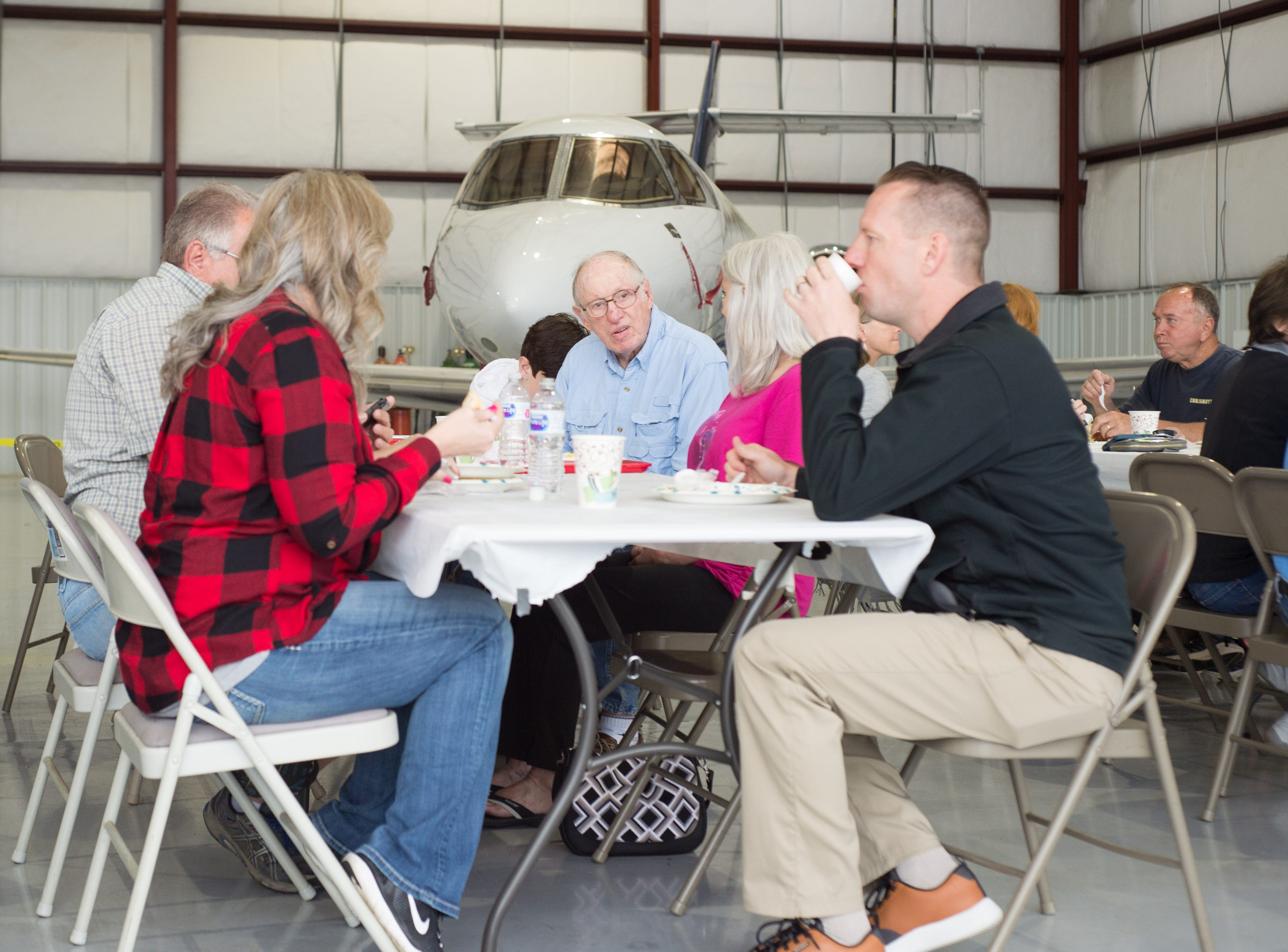 Attendees enjoy a Fly-In Breakfast at the Sumner County Regional Airport in Gallatin on Saturday, April 13.