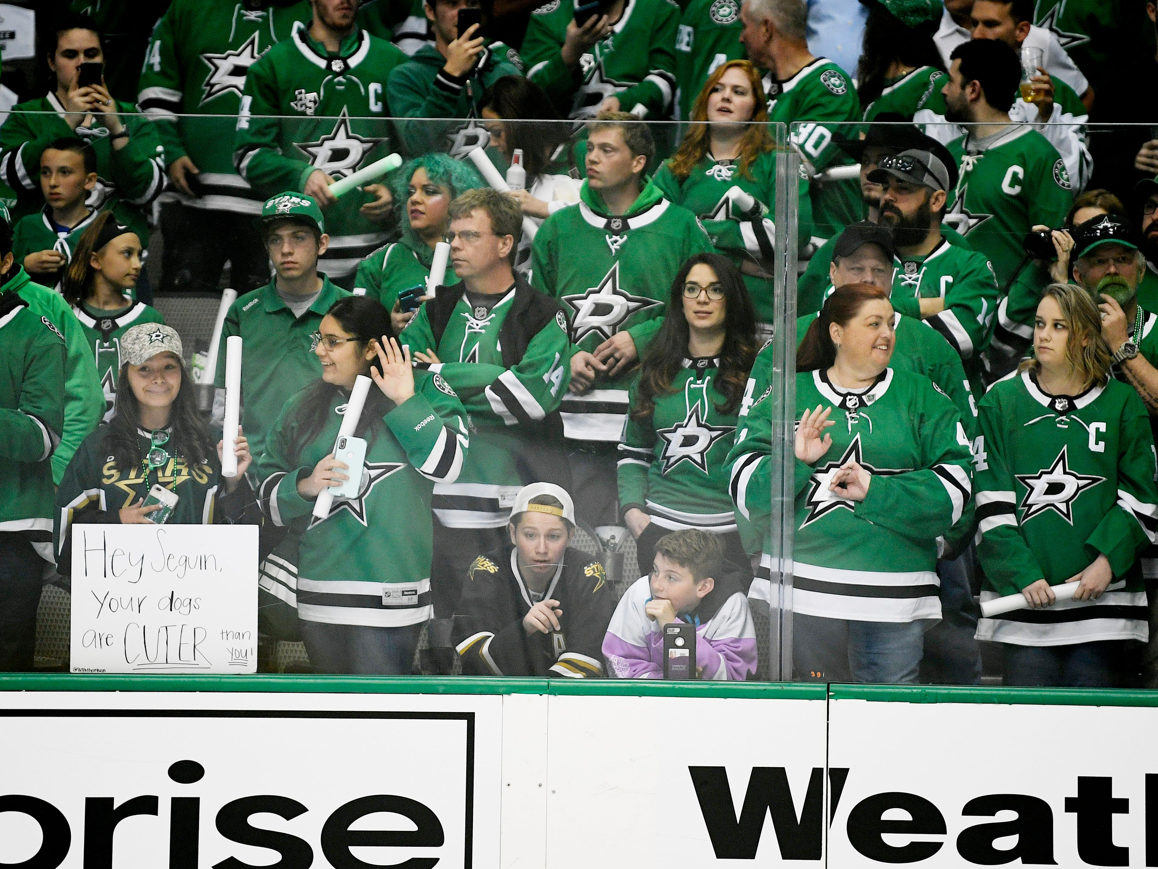 Stars fans watch warmups before the divisional semifinal game against the Predators at the American Airlines Center in Dallas, Texas., Monday, April 15, 2019.