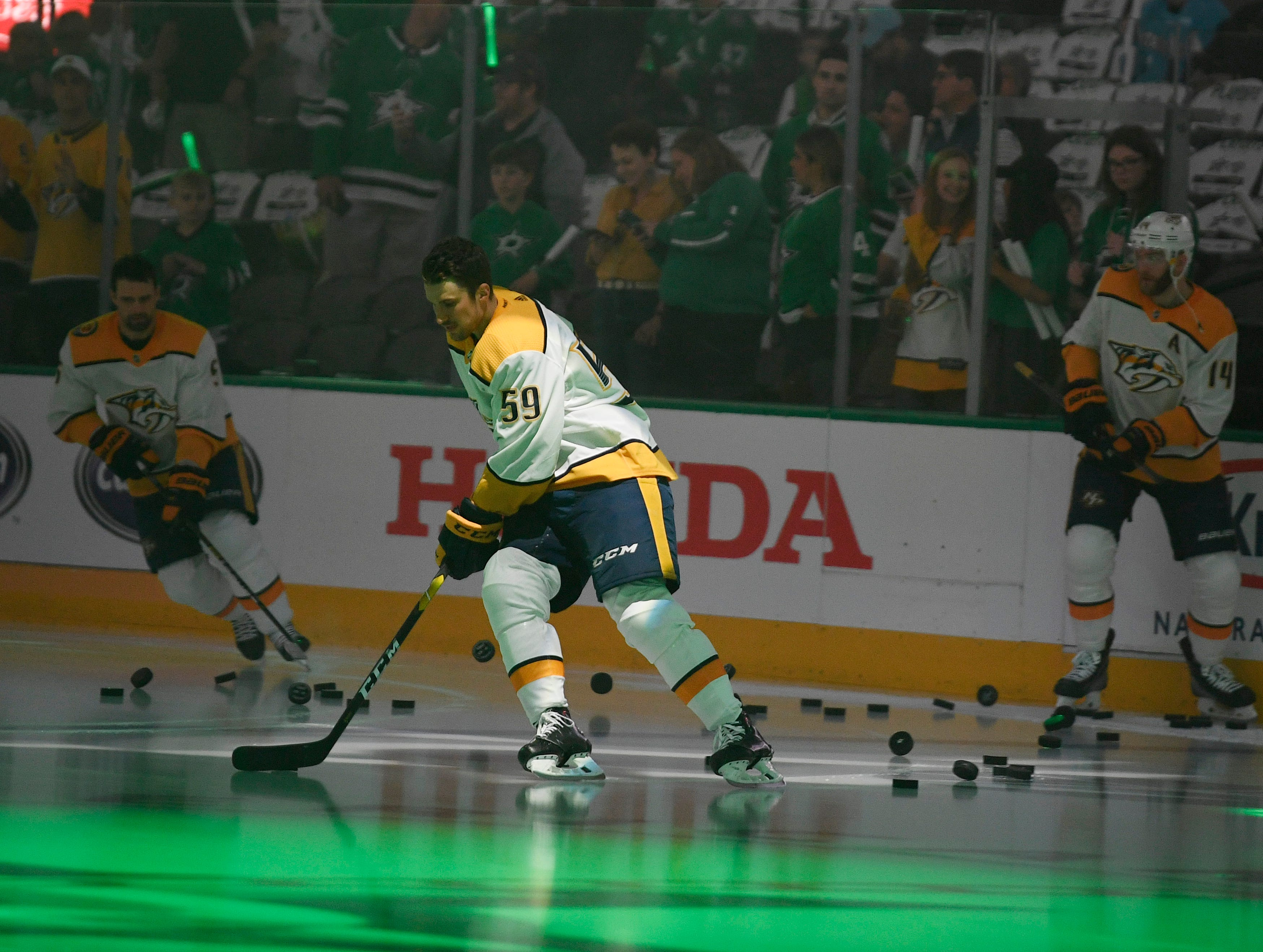 Predators players skate during warmups before the divisional semifinal game at the American Airlines Center in Dallas, Texas., Monday, April 15, 2019.