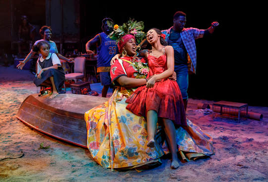 "Mia Williamson, Alex Newell, Hailey Kilgore and the cast of ""Once on this Island."""
