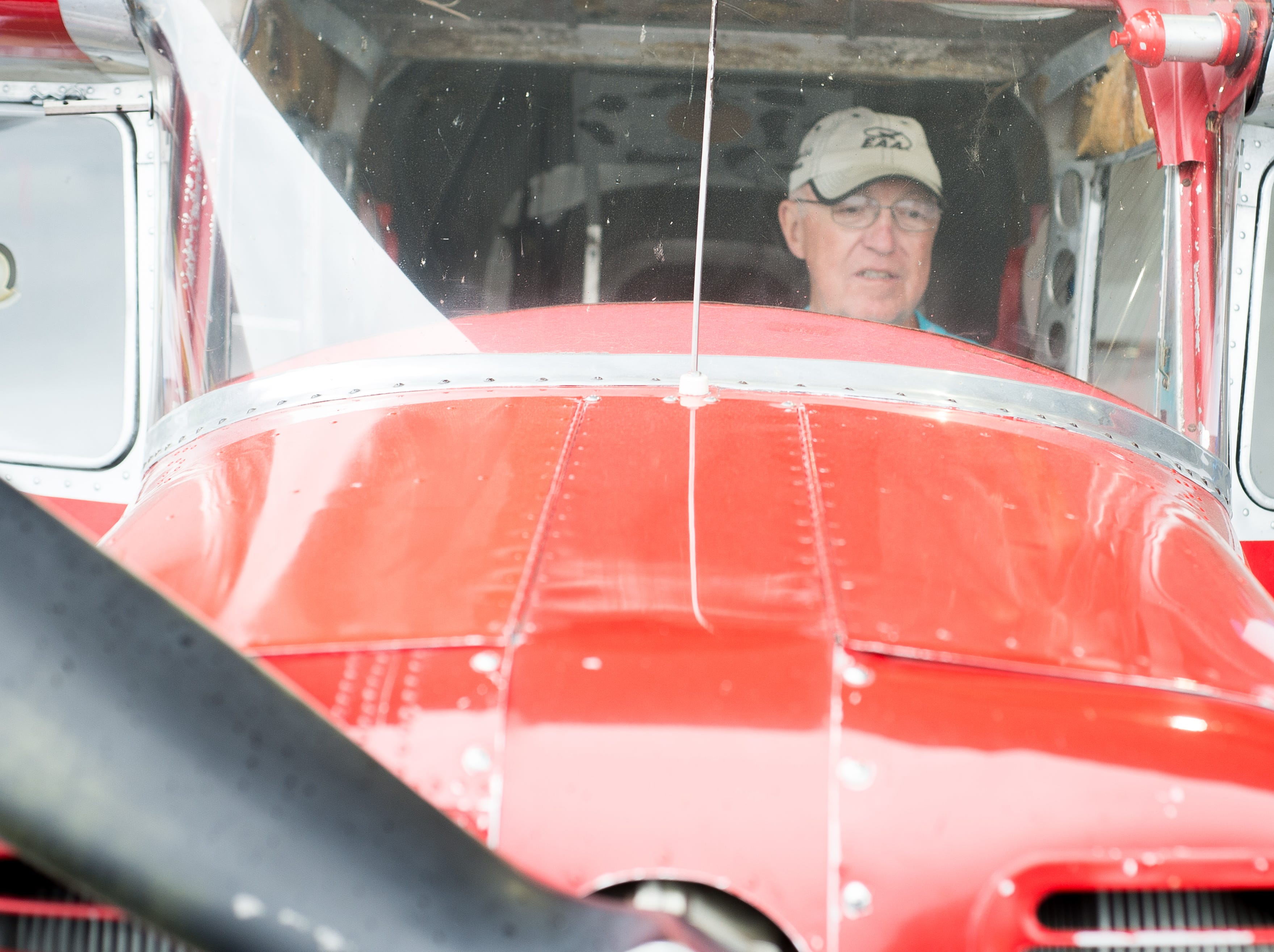 John Oldham checks out a historic aircraft during a Fly-In Breakfast at the Sumner County Regional Airport in Gallatin on Saturday, April 13.