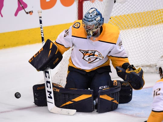 Nashville Predators goaltender Pekka Rinne (35) defends the net during the third period of the divisional semifinal game against the Dallas Stars at the American Airlines Center in Dallas, Texas., Monday, April 15, 2019.