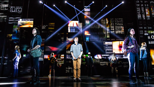 "Ben Levi Ross as Evan Hansenand the Company of the First North American Tour of ""Dear Evan Hansen."""