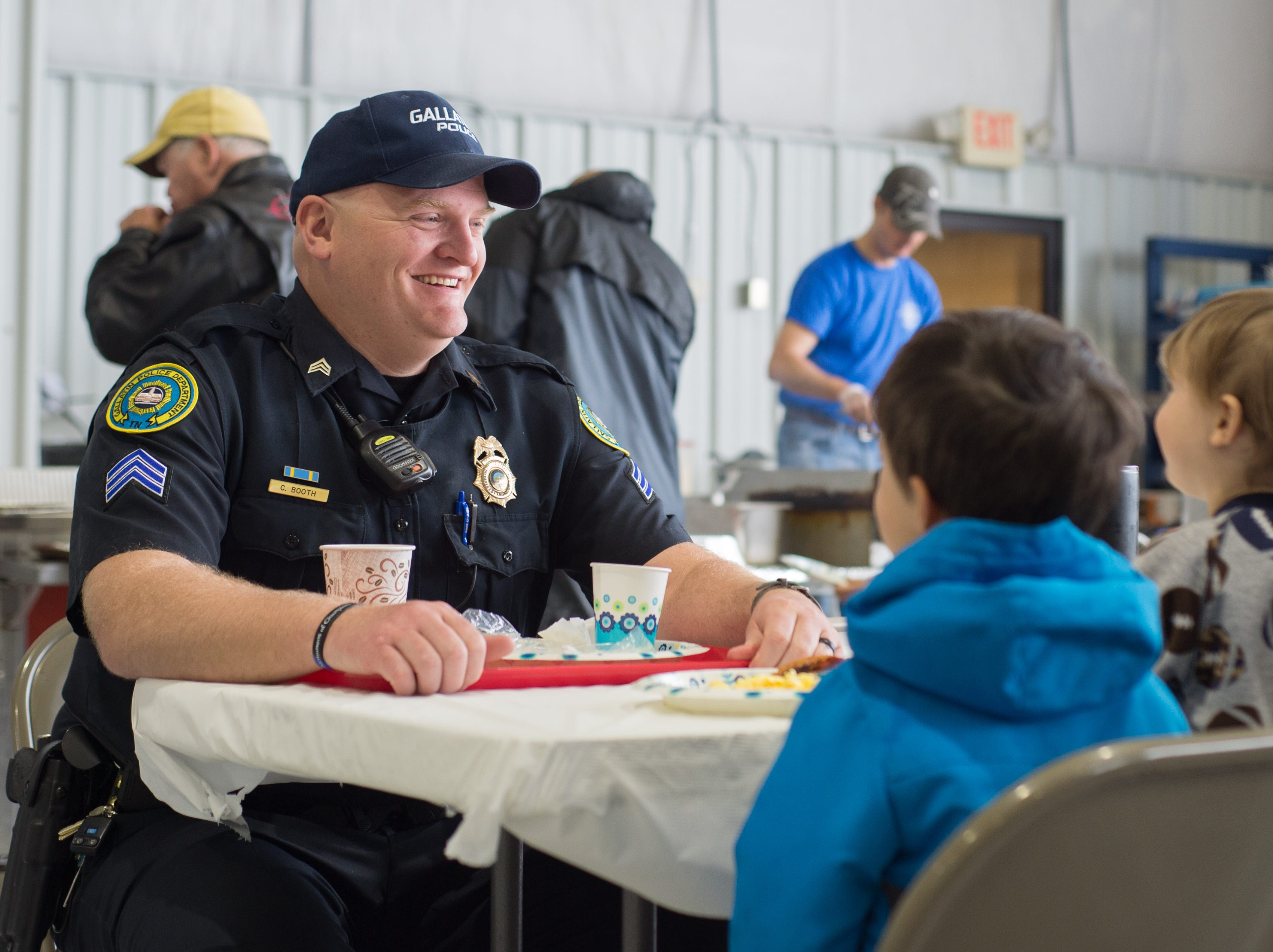 Gallatin Police Department Sergeant Booth has some fun during a Fly-In Breakfast at the Sumner County Regional Airport in Gallatin on Saturday, April 13.