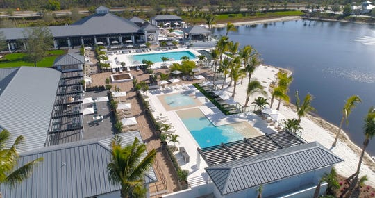 Aerial view of Kalea Bay's 25,000 square foot clubhouse featuring three individulal pools.