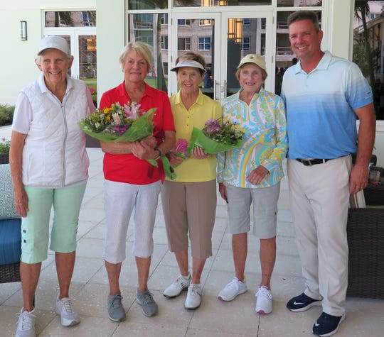 Left to right, Phyllis Sharp, Bentley Village overall club champion Caryl Koenig, Carroll Koelling, Pat Hoover, and head professional Stan Geer.