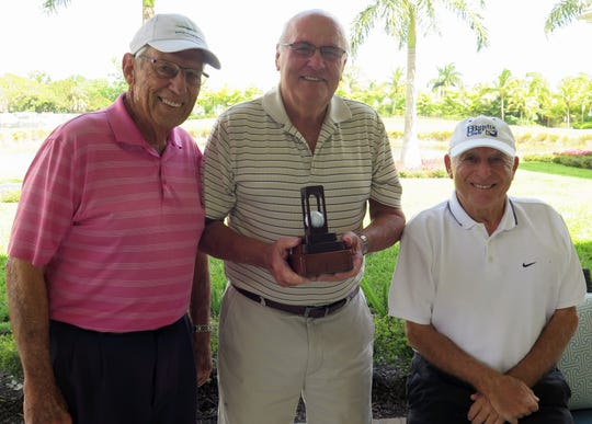 Left to right, Bentley Village Men's Club Championship First Flight winner Bud Edwards, overall Club Champion Jim Quinn, and Second Flight winner Alan Rosenstein