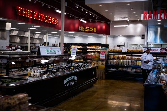 The inside of Lucky's Market on the day of their soft opening in North Naples on Tuesday, April 16, 2019. The store features a kitchen, sushi and ramen station, and salad bar.