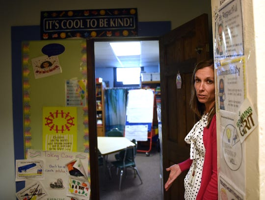 Northridge Primary School principal Jill Beaver shows how teachers and staff use every available space possible, including this small break-out instructional room, during tours of the Alexandria Primary School before the Northridge Local Schools' board meeting on Monday, April 15, 2019. The district is going to the ballot for the sixth time seeking a levy to build a new elementary.