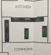 The new floor plan for the food service area coming in the fall to Granville High School and Middle School.