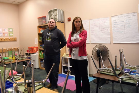 Levy committee member Stacy Duzan and Northridge Primary School principal Jill Beaver give a tour of the Alexandria Primary School before the Northridge Local Schools' board meeting on Monday, April 15, 2019. The district is going to the ballot for the sixth time seeking a levy to build a new elementary.