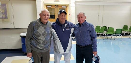 Paramus baseball coach Patrick Warburton (center) with former Spartan coaches Bob Kingsley (left) and Joe Cervino.