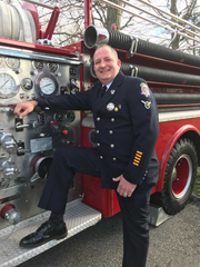Wyckoff's Tim Murphy with his 1972 Mack pumper.