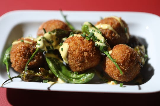 Oxtail cheese croquettes are shown at Lantanas, in Ft. Lee. Thursday, April, 11, 2019