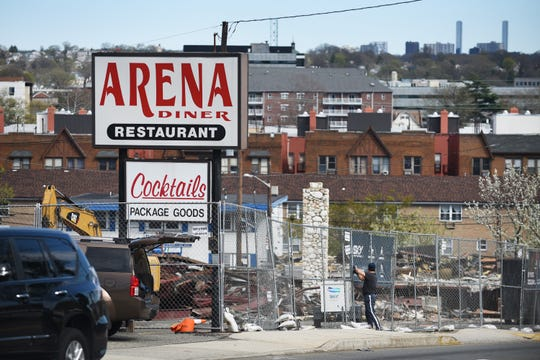 Photo of the sign of the Arena Diner in Hackensack after being demolished on 04/16/19.