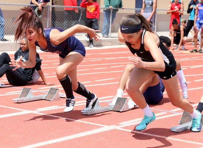 Yasmin Chaparro, left, carried the Lady 'Cats best chances in the 100m dash.