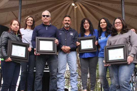 "Those holding framed certificates, were recognized for being Deming's ""hometown heroes"" and for always giving back to children in the community. Those who were recognized from left, are, Cristina del Palacio, Peppers Super Market, Gina Gentile and Jennifer Delaney."