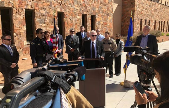 Las Cruces Police Chief Patrick Gallagher speaks about Operation Triple Beam during a new conference Tuesday, April 16, 2019, in front of the federal courthouse in Las Cruces.